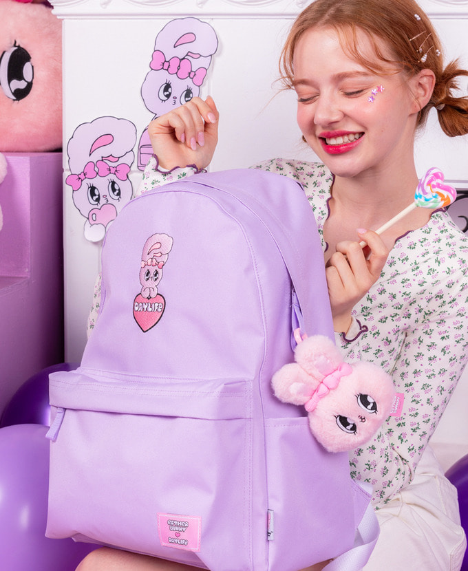 ★NEW COLLABORATION★デイライフ♥エスダバニー BIG HEART DAY BACKPACK(PURPLE)_謝恩品贈呈💝